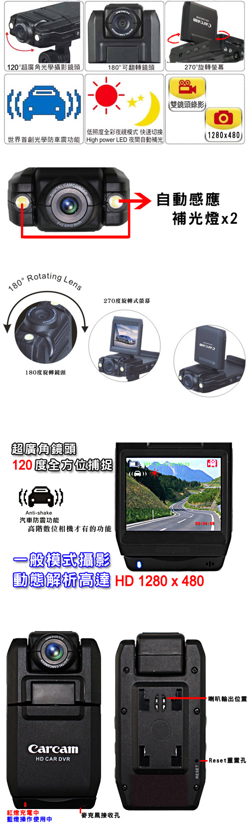 雙鏡頭夜視廣角行車記錄器,夜視行車記錄器